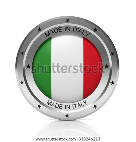 Made in Italy round badge with national flag, isolated on white background. - stock photo