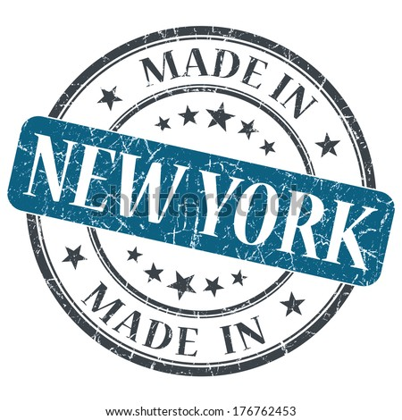 made in New York blue round grunge isolated stamp - stock photo
