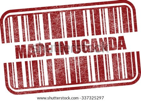 Made in Uganda - red barcode grunge rubber stamp design isolated on white background. Vintage texture. - stock photo