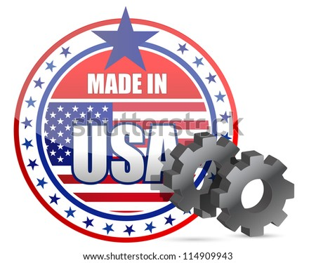 Made in USA and gears stamp illustration design - stock photo