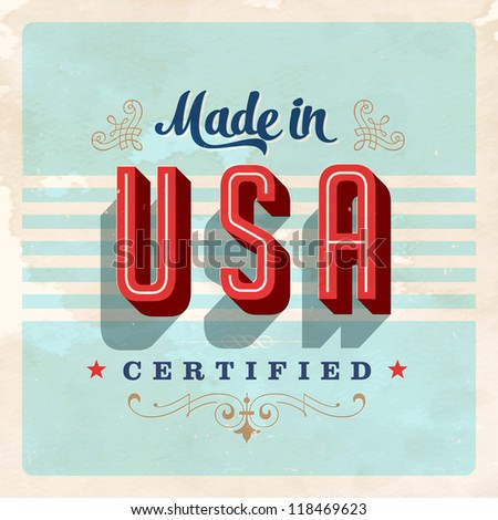 Made in USA label - JPG Version - stock photo