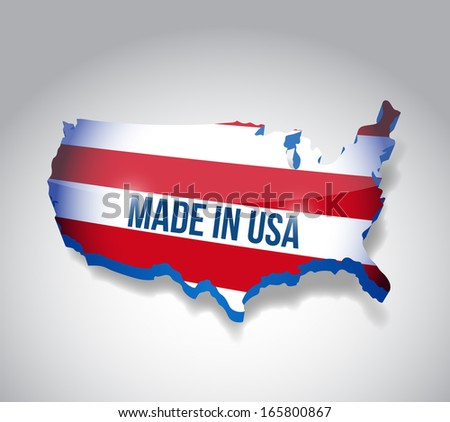 made in usa map illustration design over a white background - stock photo