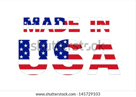 Made in USA text written with USA flag - stock photo