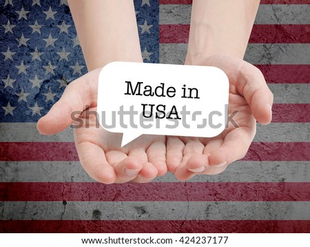 Made in USA written on a speechbubble - stock photo