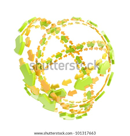 Made of glossy arrow orbit route empty sphere isolated on white - stock photo