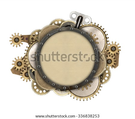 Made of metal frame and clockwork details. Mechanical steampunk collage - stock photo