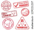 Made with premium beef. Rubber stamp illustrations - stock photo