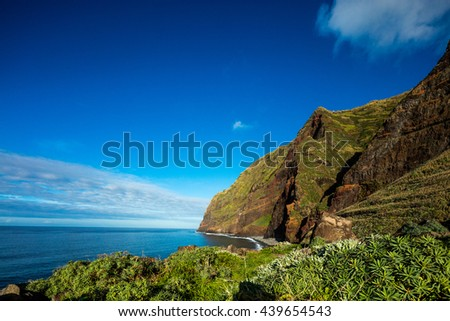 Madeira coast - cliffs on the western part of Portuguese island. - stock photo