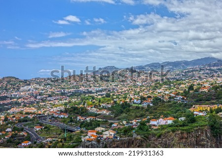 Madeira island, Portugal. Houses of Funchal. - stock photo