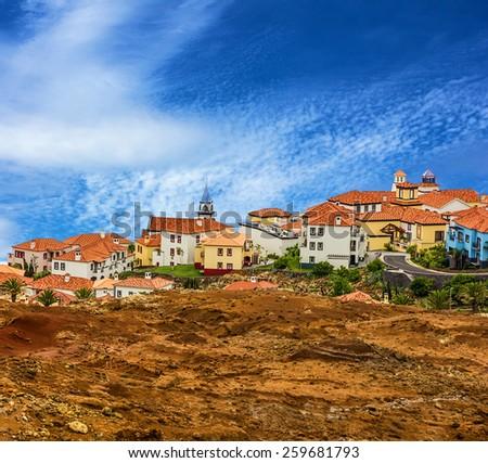 Madeira island, Portugal. Ponte de Sao Lourenco houses - stock photo