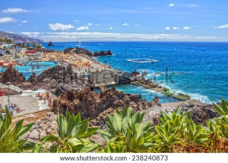 Madeira, Portugal. Seafront of Funchal. - stock photo