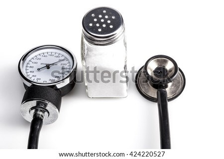 Madical instrument and salt isolated on white background with shadow - stock photo