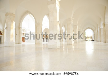 Madina mosque empty, conceptual indoor of oriental building. Fantastic background. - stock photo