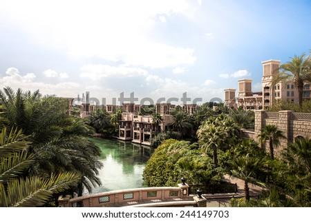 Madinat Jumeirah in Dubai United Arab Emirates - stock photo