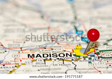 madison pin on the map - stock photo