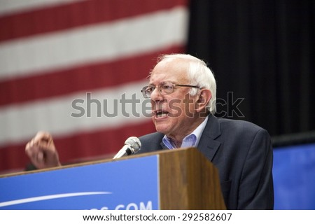 MADISON, WI/USA - July 1, 2015: U.S. Senator Bernie Sanders (I -Vermont) speaks at a presidential campaign rally in Madison, Wisconsin front of a crowd of over 10,000 people. - stock photo