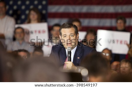 MADISON, WI/USA - March 30, 2016: Republican presidential candidate Ted Cruz speaks to a group of supporters during a rally before the Wisconsin presidential primary in Madison, Wisconsin. - stock photo