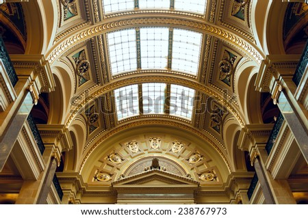 MADISON, WI/USA - OCTOBER 18, 2014:  Interior of Wisconsin Capitol lavishly decorated with unique textures of 43 varieties of stone from around the world and designated a National Historic Landmark.  - stock photo