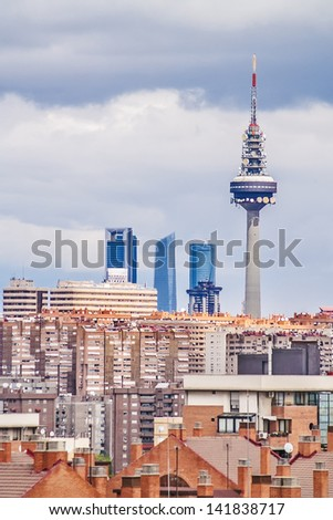 Madrid, August 2012. Skyline of Madrid, tower Torre Espa�±a, built in 1982, 232 meters, Emilio Fernandez architects. Madrid has 3,200,000 population. - stock photo