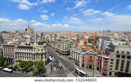 Madrid City Wide angle aerial view at the Calle de Alcala and Gran Via, Madrid, Spain. Metropolis Building (Edificio Metr�³polis) and San Jose church (Iglesia de San Jos�©) are at both sides of Gran Via - stock photo