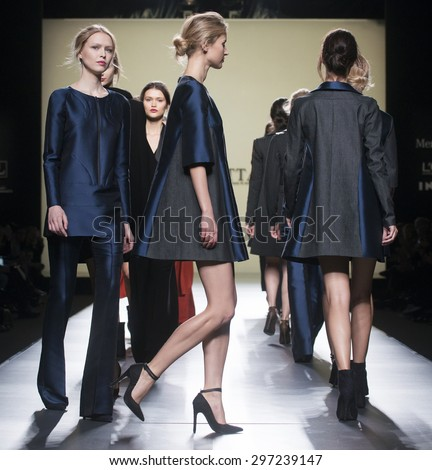 MADRID - FEBRUARY 08: models walking on the Roberto Torretta catwalk during the Mercedes-Benz Fashion Week Madrid Fall/Winter 2015 runway on February 08, 2015 in Madrid.  - stock photo