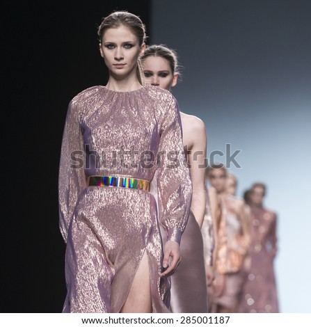 MADRID - FEBRUARY 07: models walking on the The 2nd Skin Co catwalk during the Mercedes-Benz Fashion Week Madrid Fall/Winter 2015 runway on February 07, 2015 in Madrid.  - stock photo