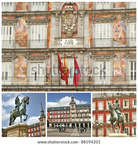 Madrid. Plaza Mayor, Palaces and monument. Spain - stock photo