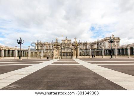Madrid Royal Palace Plaza de Orient - stock photo