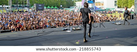 MADRID - SEP 13: Band of Skulls (rock band) performance at Dcode Festival on September 13, 2014 in Madrid, Spain. - stock photo