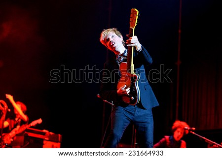MADRID - SEP 13: Beck (legendary musician, singer and songwriter) performance at Dcode Festival on September 13, 2014 in Madrid, Spain. - stock photo