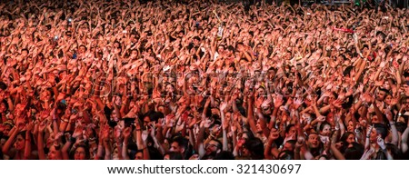 MADRID - SEP 12: Crowd in a concert at Dcode Festival on September 12, 2015 in Madrid, Spain. - stock photo