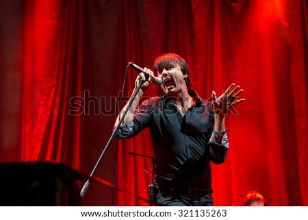 MADRID - SEP 12: The singer of Suede (band) performs at Dcode Festival on September 12, 2015 in Madrid, Spain. - stock photo