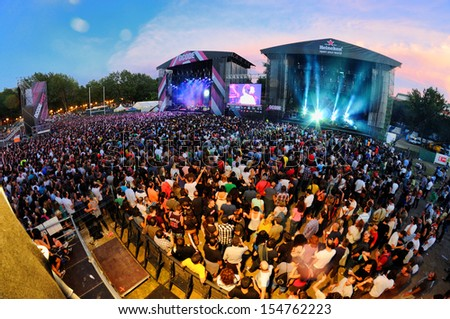 MADRID - SEPT 14: Audience at Dcode Festival during a concert on September 14, 2013 in Madrid, Spain. - stock photo