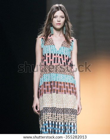 MADRID - SEPTEMBER 18: a model walks on the Ailanto catwalk during the Mercedes-Benz Fashion Week Madrid Spring/Summer 2016 runway on September 18, 2015 in Madrid.  - stock photo