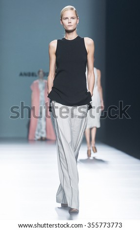 MADRID - SEPTEMBER 18: a model walks on the Angel Schlesser catwalk during the Mercedes-Benz Fashion Week Madrid Spring/Summer 2016 runway on September 18, 2015 in Madrid.  - stock photo