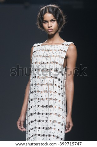 MADRID - SEPTEMBER 20: a model walks on the Etxebarria catwalk during the Mercedes-Benz Fashion Week Madrid Spring/Summer 2016 runway on September 20, 2015 in Madrid.  - stock photo