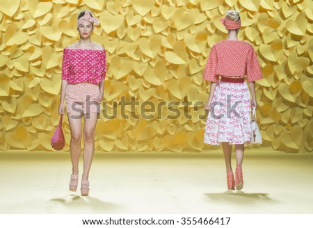 MADRID - SEPTEMBER 18: models walking on the Agatha Ruiz de la Prada catwalk during the Mercedes-Benz Fashion Week Madrid Spring/Summer 2016 runway on September 18, 2015 in Madrid.  - stock photo