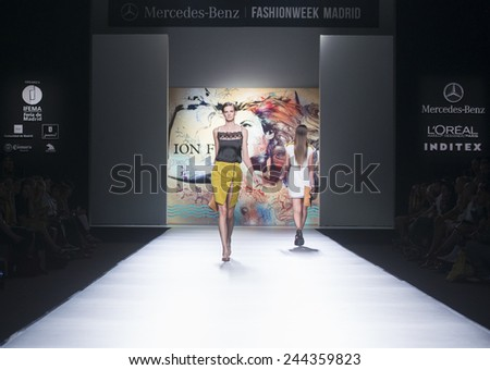 MADRID - SEPTEMBER 12: models walking on the Ion Fiz catwalk during the Mercedes-Benz Fashion Week Madrid Spring/Summer 2015 runway on September 12, 2014 in Madrid.  - stock photo