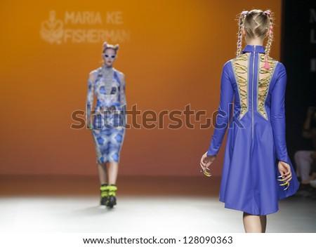 MADRID � SEPTEMBER 04: Models walking on the Maria Ke Fisherman catwalk during the Cibeles Madrid Fashion Week runway on September 04, 2012 in Madrid. - stock photo