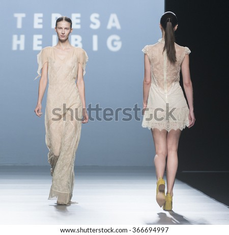 MADRID - SEPTEMBER 20: models walking on the Teresa Helbig catwalk during the Mercedes-Benz Fashion Week Madrid Spring/Summer 2016 runway on September 20, 2015 in Madrid.  - stock photo