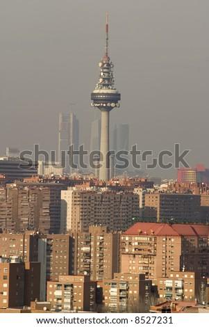 Madrid Skyline with communication tower - stock photo
