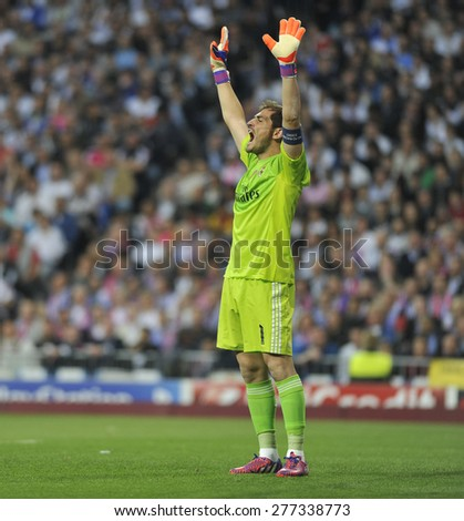 MADRID, SPAIN - April 22th, 2015 :  IKER CASILLAS, goalkeeper of REAL MADRID warms up during Europe Champions League match vs ATLETICO DE MADRID at Santiago Bernabeu Stadium  - stock photo