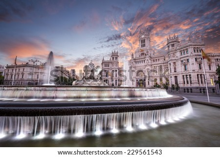 Madrid, Spain at Communication Palace and Cibeles Plaza. - stock photo
