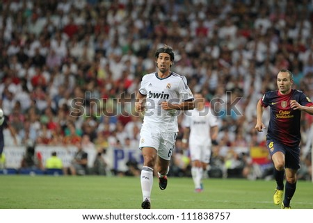 MADRID, SPAIN - AUGUST 29: Sami Khedira during the Supercopa, Real Madrid vs FC Barcelona, on August 29, 2012 at the Santiago Bernabeu Stadium. - stock photo