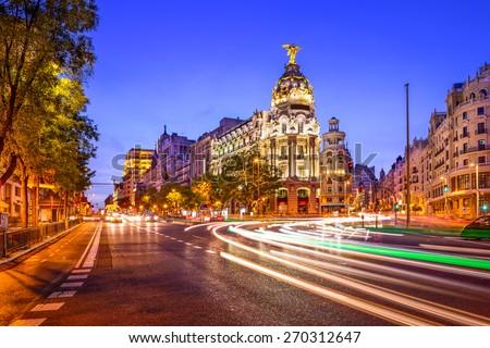 Madrid, Spain cityscape at night. - stock photo