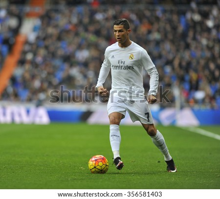 MADRID, SPAIN - December 30st, 2015 :  Portuguese CRISTIANO RONALDO of REAL MADRID in action during Spain La Liga match vs Real Sociedad at Santiago Bernabeu Stadium  - stock photo