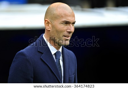 MADRID, SPAIN - January 17th 2016: portrait of ZINEDINE ZIDANE coach of REAL MADRID and former legendary player during Spain La Liga match vs SPORTING GIJON at Santiago Bernabeu Stadium - stock photo
