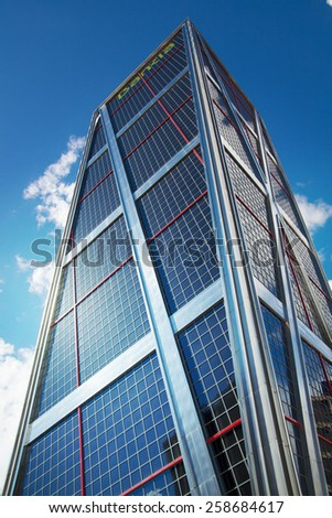 MADRID, SPAIN - July 22, 2014: Madrid city, business centre, modern skyscrapers - stock photo