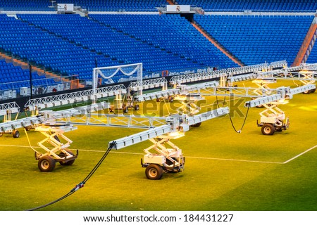 MADRID, SPAIN - MAR 11, 2014: Heating machines at the Santiago Bernabeu stadium. Santiago Bernabeu is a home arena for the Real Madrid Club de Futbol - stock photo