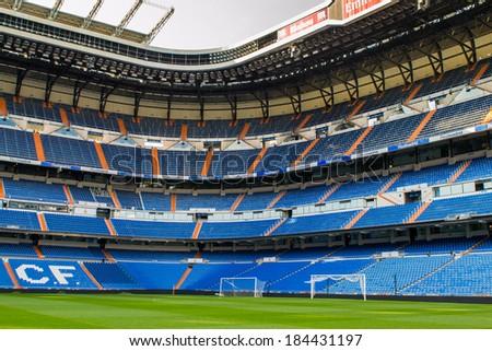 MADRID, SPAIN - MAR 11, 2014: Sight of the Santiago Bernabeu stadium. Santiago Bernabeu is a home arena for the Real Madrid Club de Futbol - stock photo